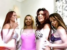 Tgirl girlfriends celebrate weekend with foursome sex orgy