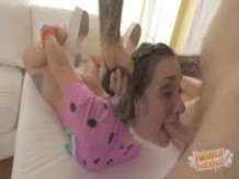 Pigtail Cutie Gets Fucked Rough and Pukes