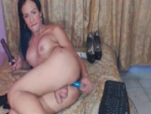 Latina Shemale with Erect Tits Fucks Her Dildo