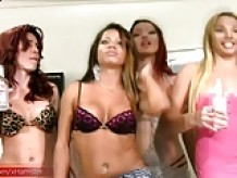 Redhead shemale is sucking and riding three girl poles