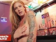 Tattooed trans beauty pov fucked by bartender