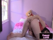 Natural amateur tgirl sensualy jerking cock
